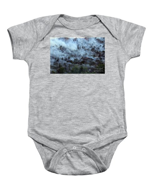 A Smoky Slope On White Draw Fire Baby Onesie