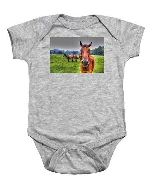 Baby Onesie featuring the photograph A Starring Horse by Jonny D