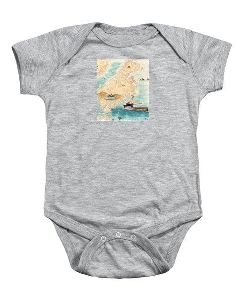 Accomplice Kodiak Crab Fishing Boat Cathy Peek Nautical Chart Map  Baby Onesie