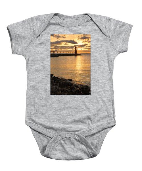 Across The Harbor Baby Onesie by Bill Pevlor