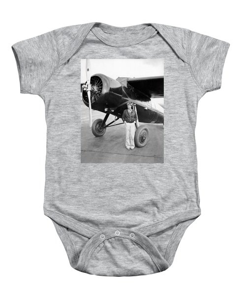 Amelia Earhart And Her Plane Baby Onesie