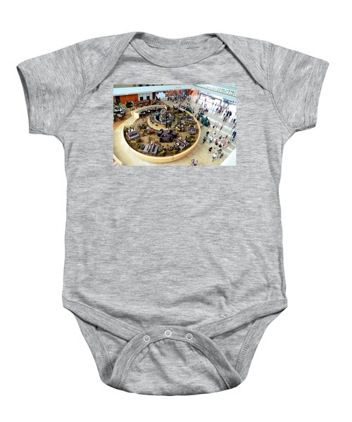 An Aerial View Of The Marina Bay Sands Hotel Lobby Singapore Baby Onesie