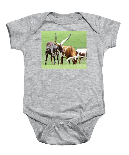 Ankole And Texas Longhorn Cattle Baby Onesie