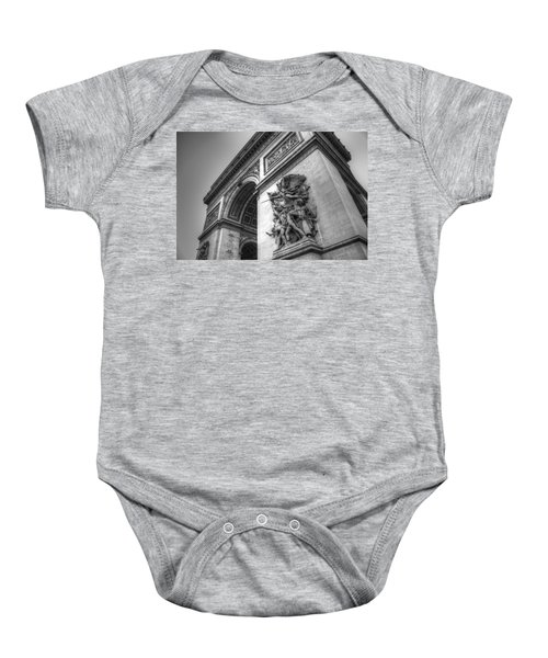 Baby Onesie featuring the photograph Arc De Triomphe In Black And White by Jennifer Ancker