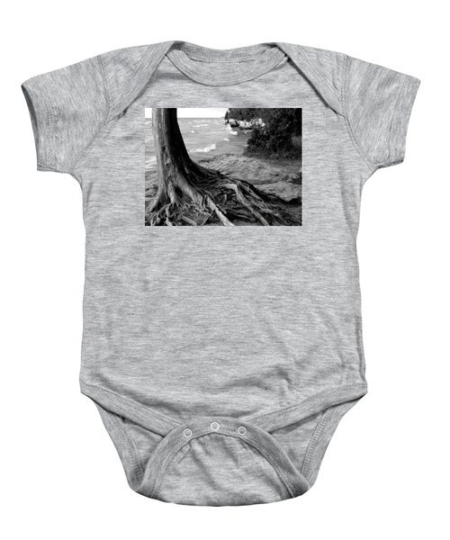 B And W Cedar Roots At Cave Point Baby Onesie