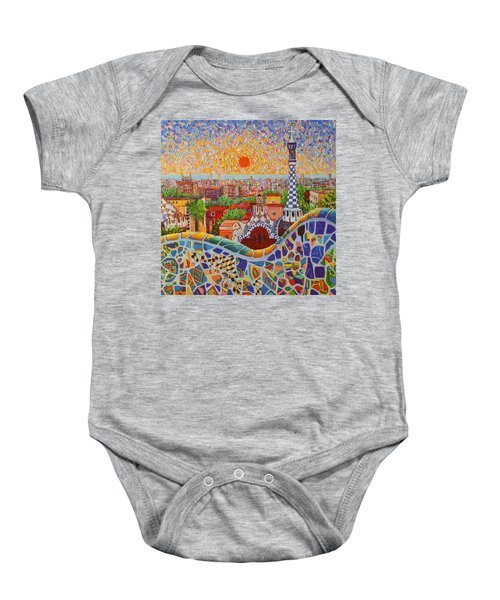 Barcelona Sunrise Light - View From Park Guell Of Gaudi - Square Format Baby Onesie