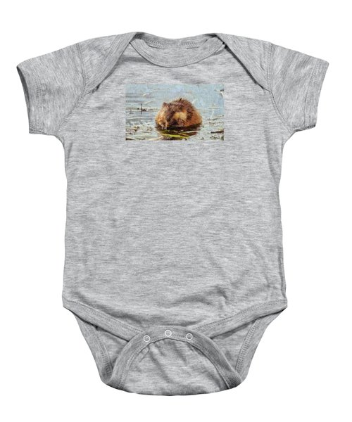 Beaver Portrait On Canvas Baby Onesie by Dan Sproul