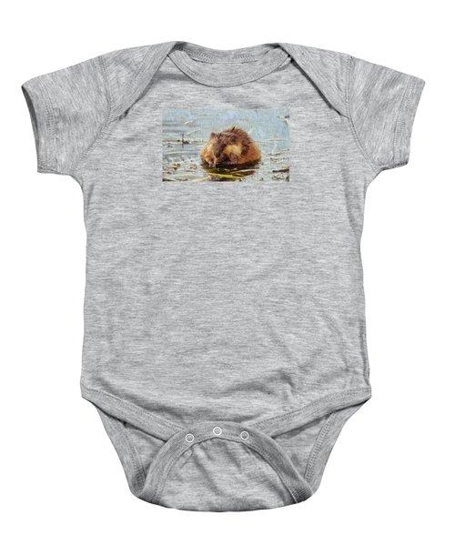 Beaver Portrait On Canvas Baby Onesie
