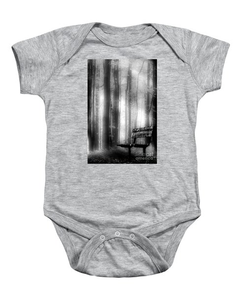 Bench In Michigan Woods Baby Onesie