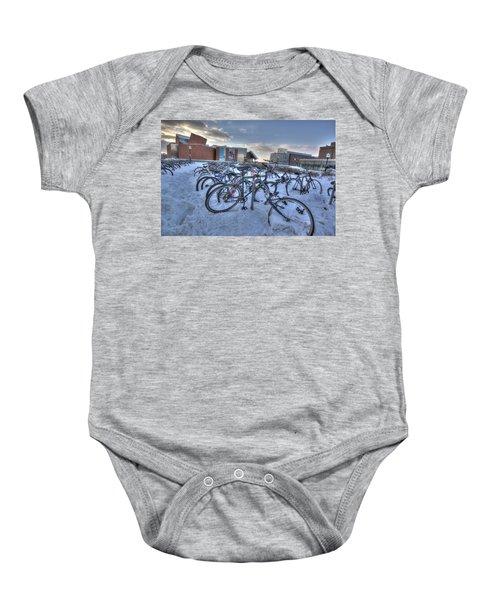 Bikes At University Of Minnesota  Baby Onesie by Amanda Stadther