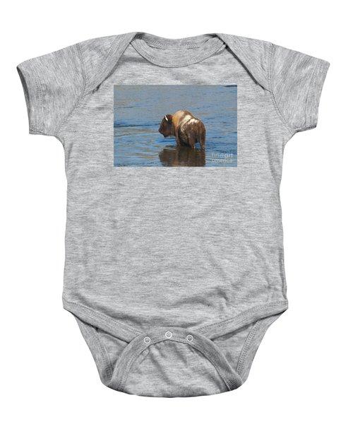 Bison Crossing River Baby Onesie