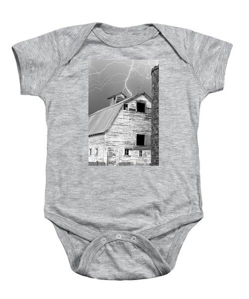 Black And White Old Barn Lightning Strikes Baby Onesie