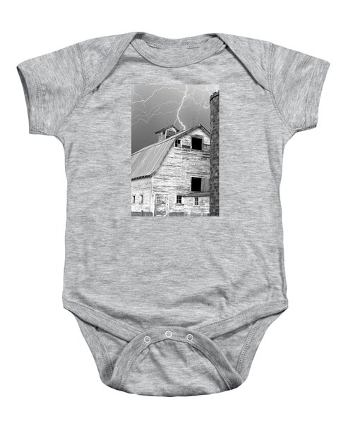Black And White Old Barn Lightning Strikes Baby Onesie