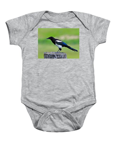 Black Billed Magpie Baby Onesie by Karon Melillo DeVega