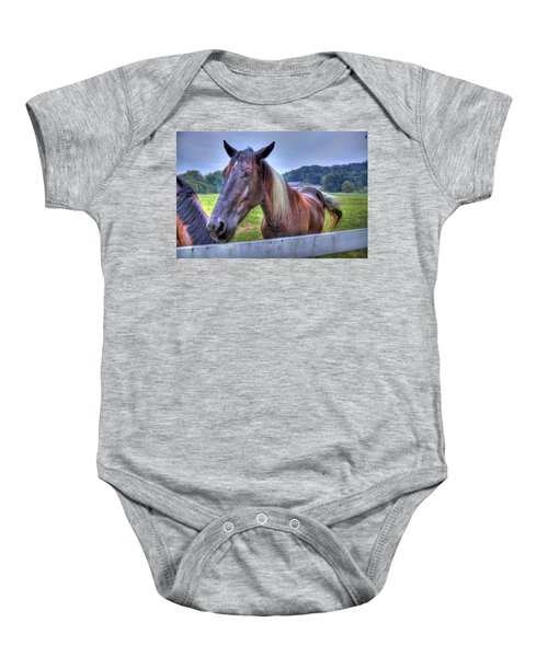 Baby Onesie featuring the photograph Black Horse At A Fence by Jonny D