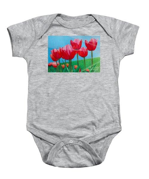 Blue Ray Tulips Baby Onesie