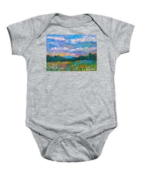 Baby Onesie featuring the painting Blue Ridge Wildflowers by Kendall Kessler