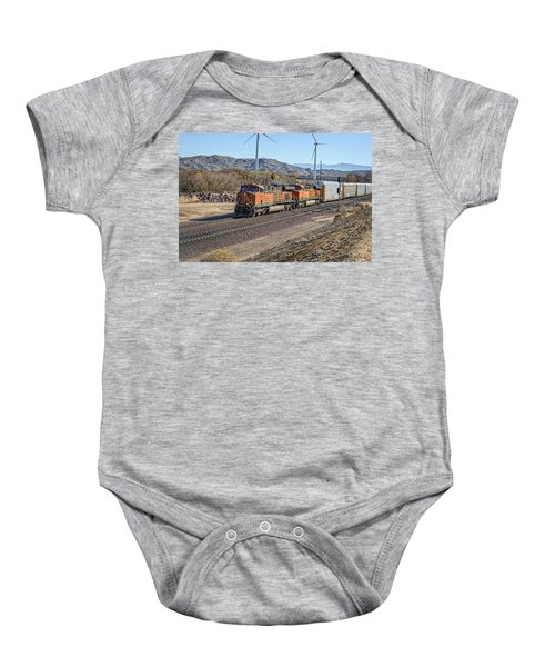Baby Onesie featuring the photograph Bnsf 7454 by Jim Thompson