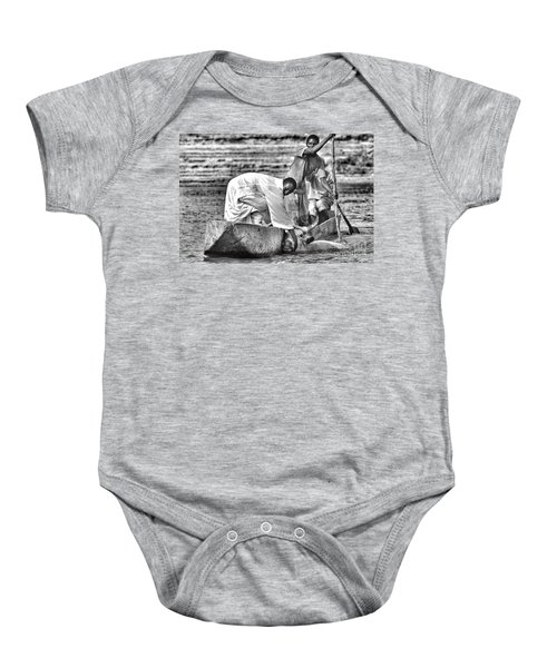 Boat And Cow  Baby Onesie