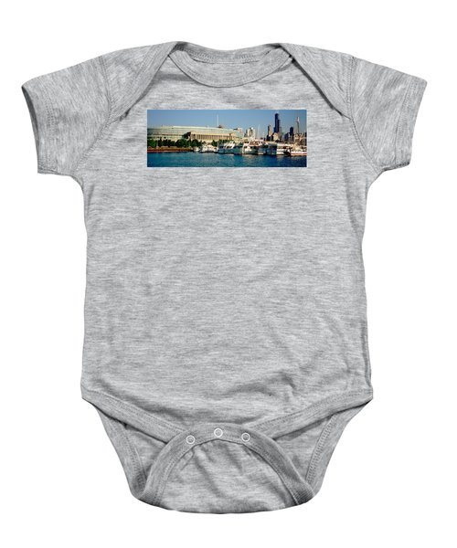 Boats Moored At A Dock, Chicago Baby Onesie by Panoramic Images