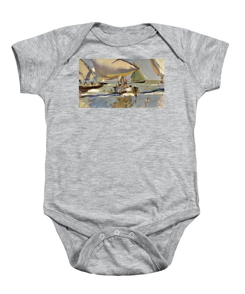 Boats On The Shore Baby Onesie