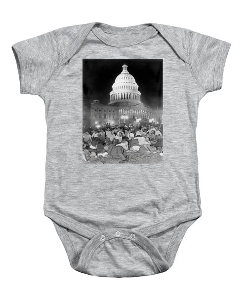 Bonus Army Sleeps At Capitol Baby Onesie by Underwood Archives