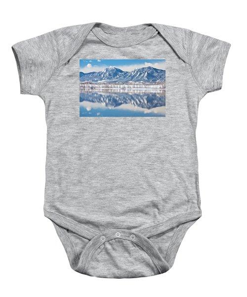 Boulder Reservoir Flatirons Reflections Boulder Colorado Baby Onesie