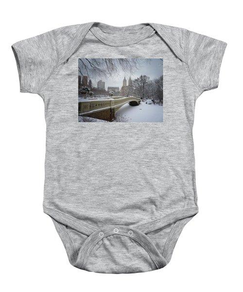 Bow Bridge Central Park In Winter  Baby Onesie by Vivienne Gucwa