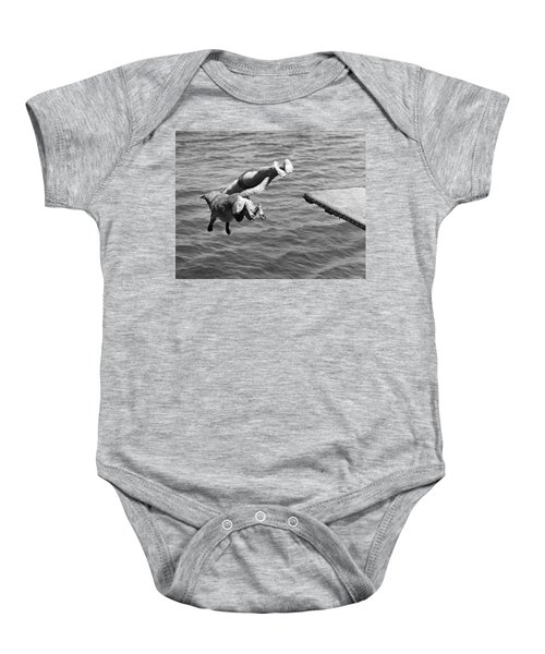 Boy And His Dog Dive Together Baby Onesie