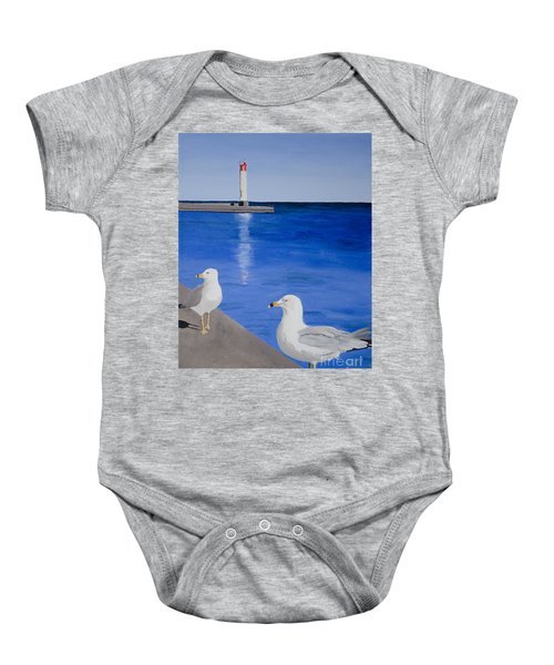 Bronte Lighthouse Gulls In Oil Baby Onesie