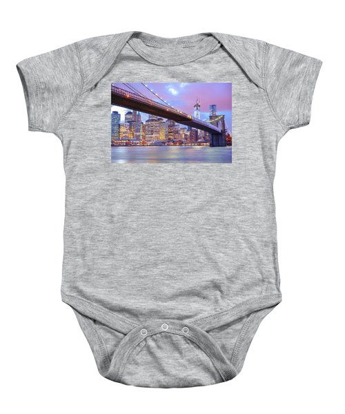 Brooklyn Bridge And New York City Skyscrapers Baby Onesie