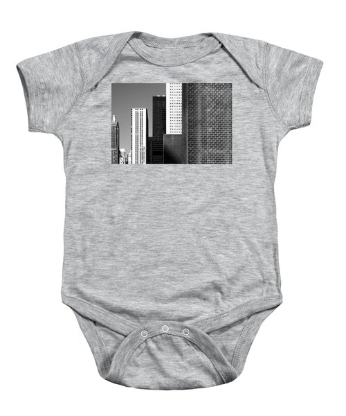 Building Blocks Black White Baby Onesie