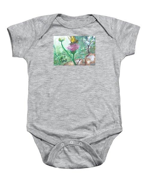 Butterfly On Flower  Baby Onesie
