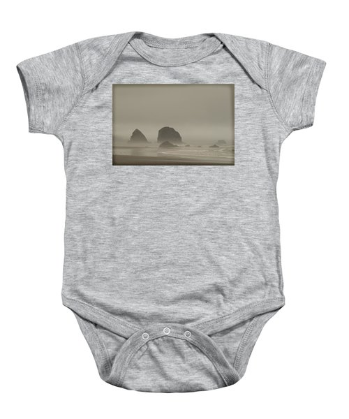 Cannon Beach In A Fog Oregon Baby Onesie by Yulia Kazansky