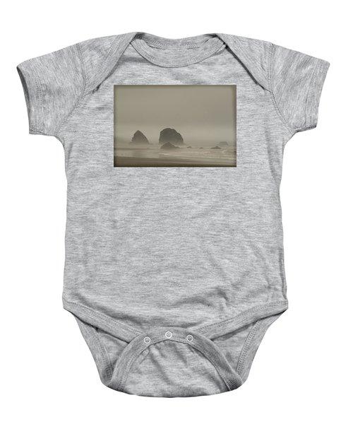 Cannon Beach In A Fog Oregon Baby Onesie