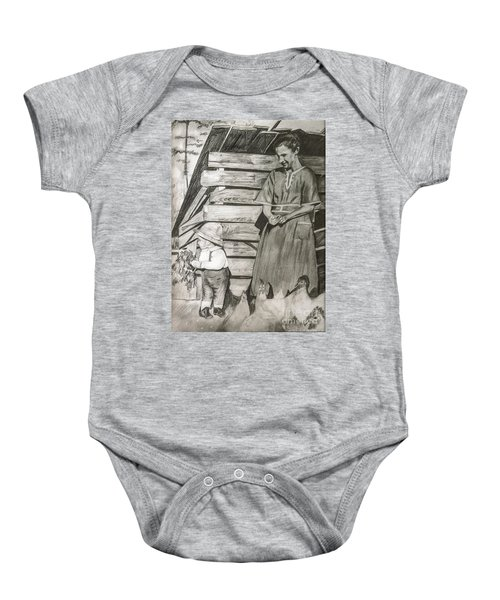 Chicken Coop - Woman And Son - Feeding Chickens Baby Onesie