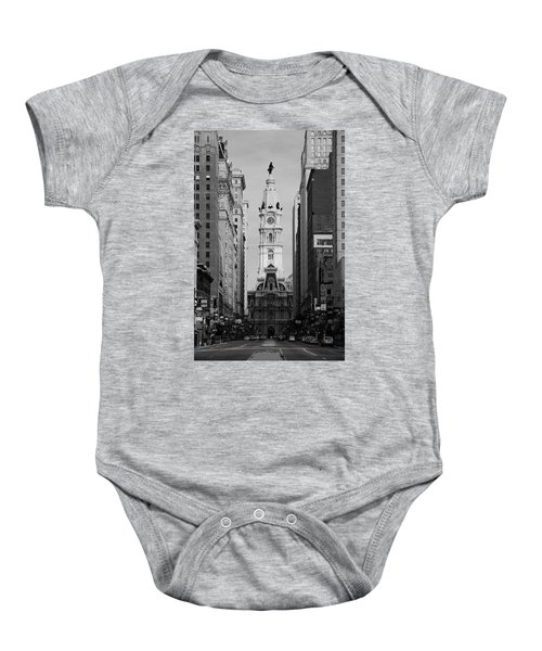 Baby Onesie featuring the photograph City Hall B/w by Jennifer Ancker