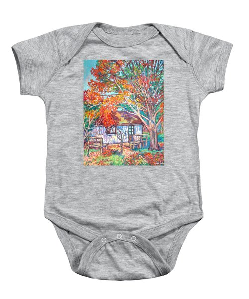 Baby Onesie featuring the painting Claytor Lake Cabin In Fall by Kendall Kessler
