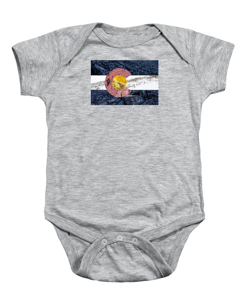 Colorado State Flag With Mountain Textures Baby Onesie