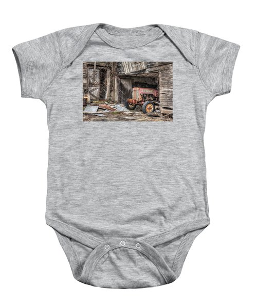 Comfortable Chaos - Old Tractor At Rest - Agricultural Machinary - Old Barn Baby Onesie