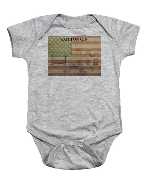 Cotton Gin Patent Aged American Flag Baby Onesie