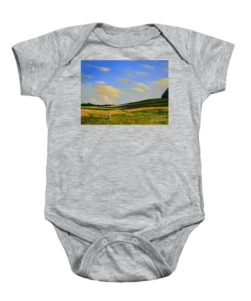 Crossing The Field Baby Onesie