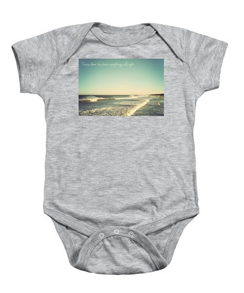 Down The Shore Seaside Heights Vintage Quote Baby Onesie