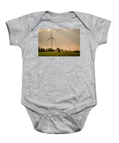 Farms And Windmills Baby Onesie