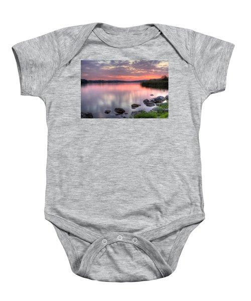 Fiery Lake Sunset Baby Onesie