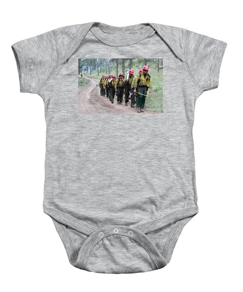 Fire Crew Walks To Their Assignment On Myrtle Fire Baby Onesie
