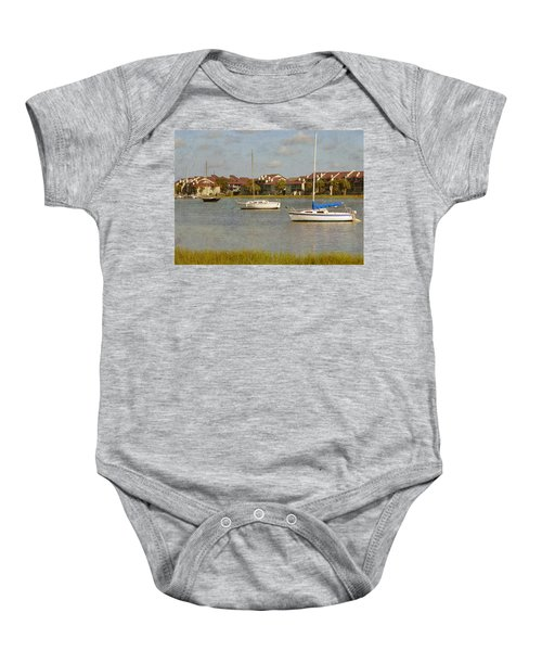 Folly Beach Boats Baby Onesie
