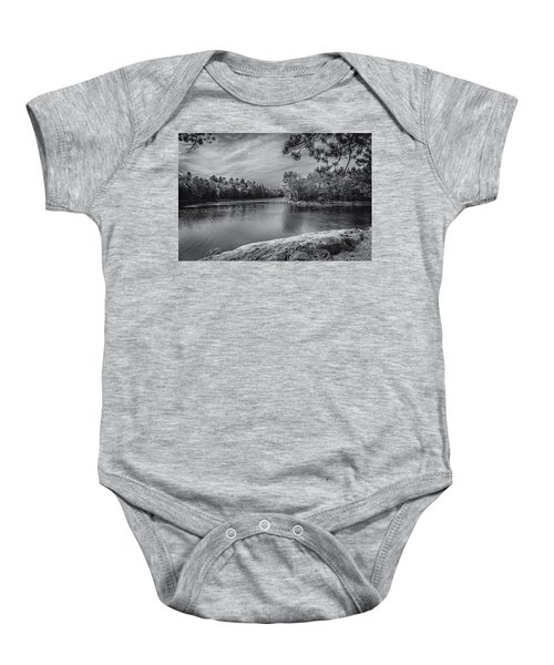 Baby Onesie featuring the photograph Fork In River Bw by Mark Myhaver