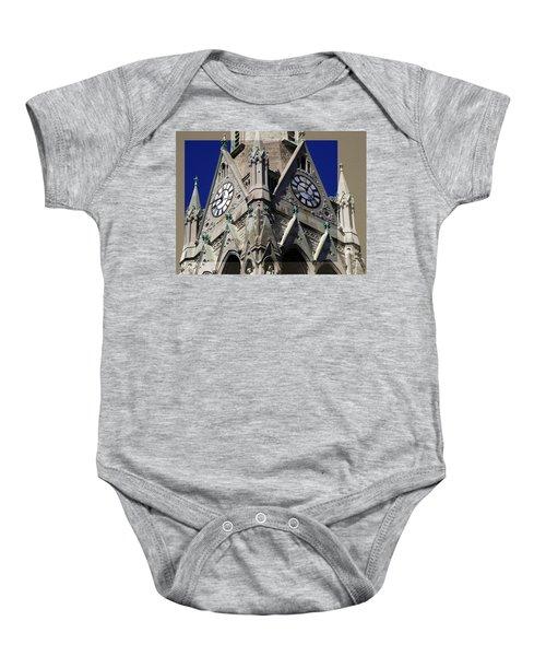Gothic Church Clock Tower Spire Baby Onesie