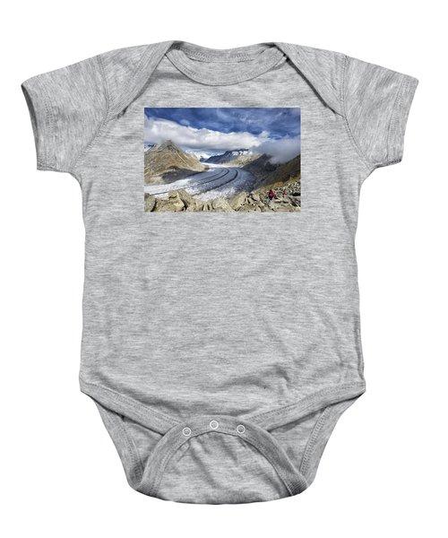 Great Aletsch Glacier Swiss Alps Switzerland Europe Baby Onesie by Matthias Hauser